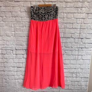 DOUBLE ZERO Maxi Dress Strapless Pink Black White